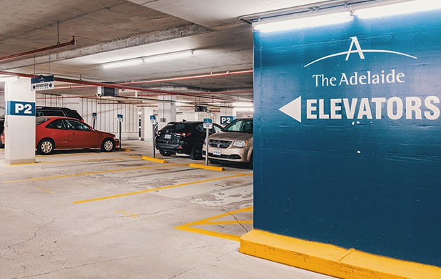 Photo of the underground parking garage at The Adelaide